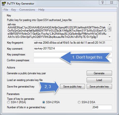 putty make ssh key